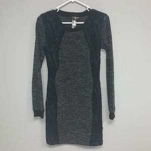 Black and grey heathered sweater dress with lace